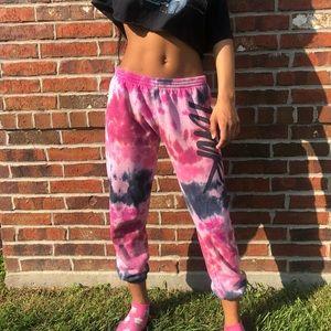 Pink black tie dye sweatpants Victorias Secret M